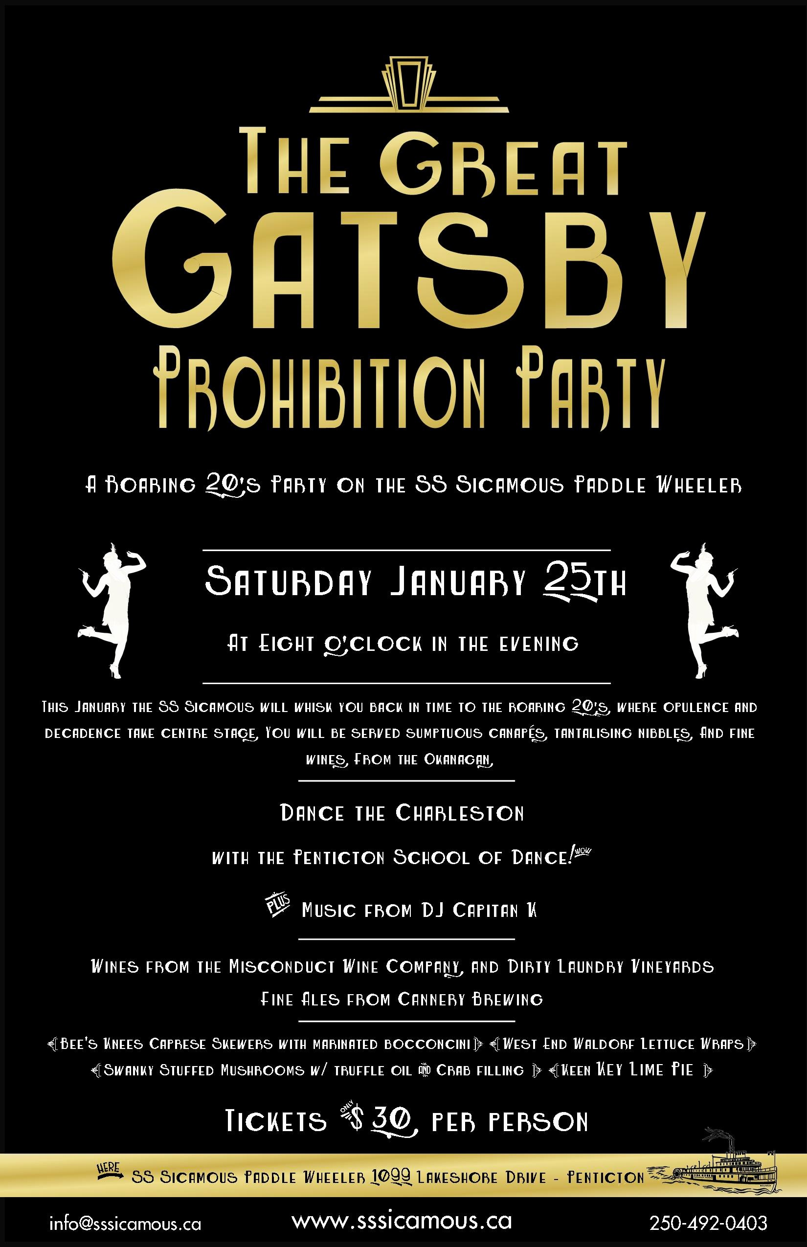 Great Gatsby Ticket Template Beautiful the Great Gatsby Prohibition Party