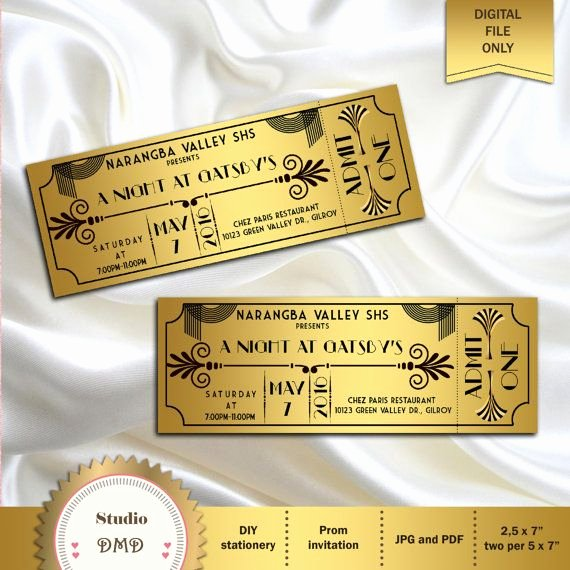 Great Gatsby Ticket Template Best Of 25 Best Ideas About Great Gatsby Invitation On Pinterest