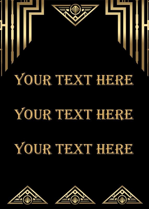 Great Gatsby Ticket Template Elegant Great Gatsby Style Art Deco Template Birthday Party Signs