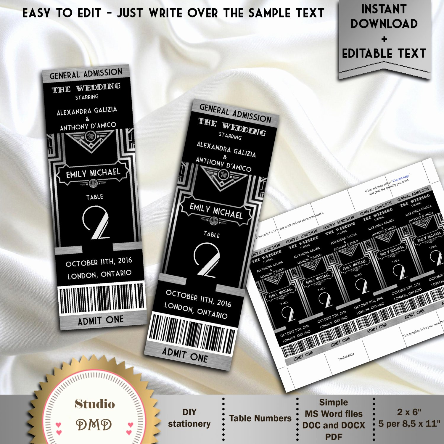 Great Gatsby Ticket Template Fresh Great Gatsby Style Art Deco Table Numbers Cards Ticket