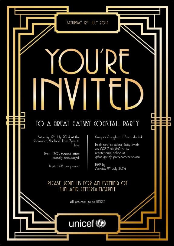 """Great Gatsby Ticket Template Fresh Unicef Sheffield On Twitter """"you Yes You You Re"""