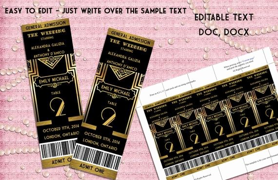 Great Gatsby Ticket Template New Great Gatsby Style Art Deco Table Numbers Card Ticket Style