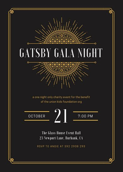 Great Gatsby Ticket Template New Kids Party Invitation Templates Canva
