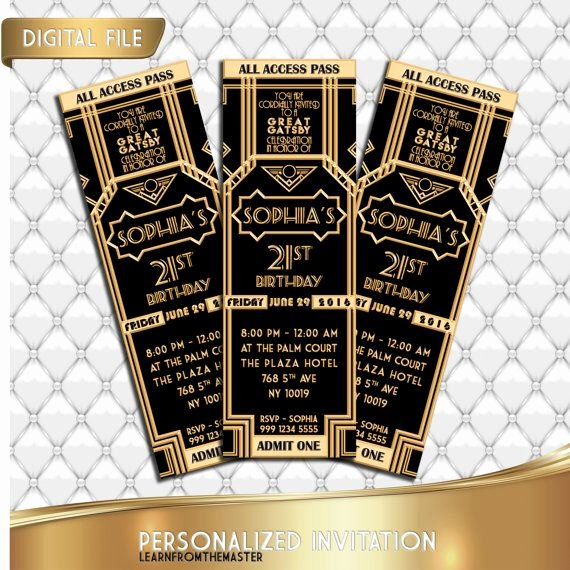 Great Gatsby Ticket Template Unique 1000 Ideas About event Invitations On Pinterest