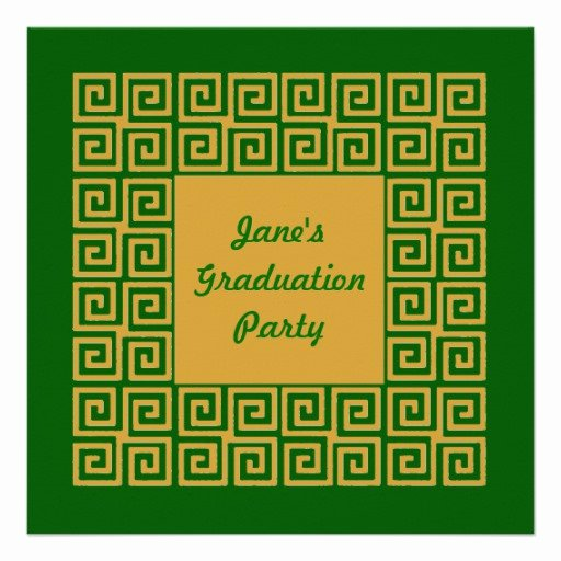 Greek Key Pattern Template Awesome Green & Gold Key Pattern Party Invitation