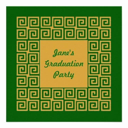 Greek Key Pattern Template Awesome Green & Gold Key Pattern Party Invitation
