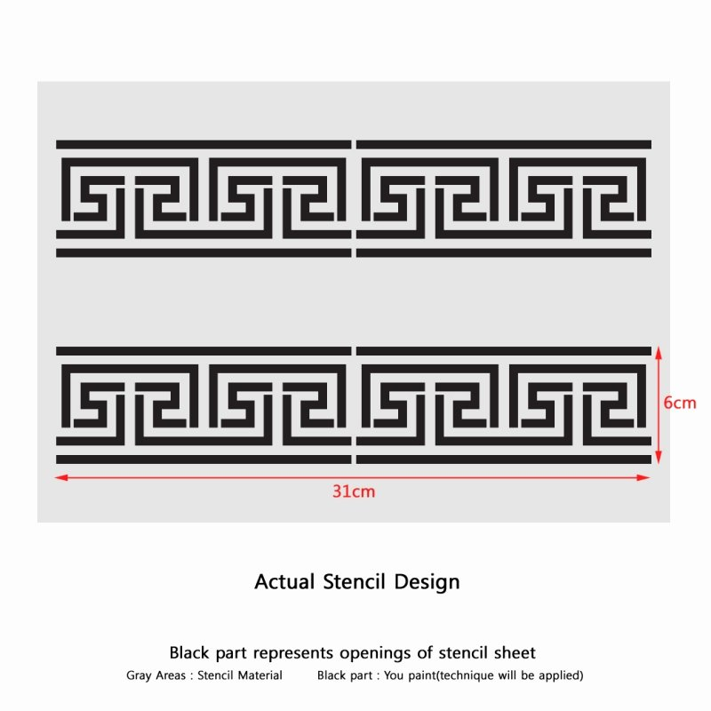 Greek Key Pattern Template Fresh Greek Key Side Border Stencil 2 Reusable Template for