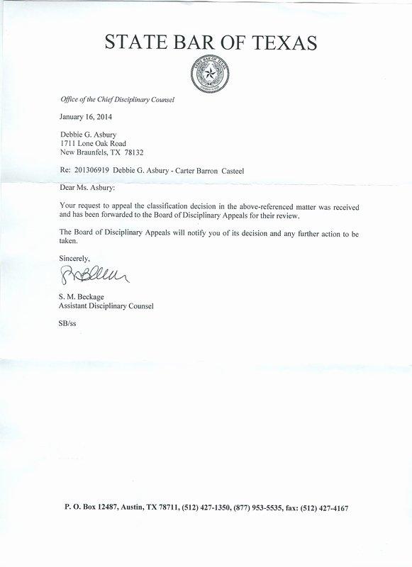 Grievance Appeal Letter Fresh Christine E Mckeeman Texas Board Of Disciplinary