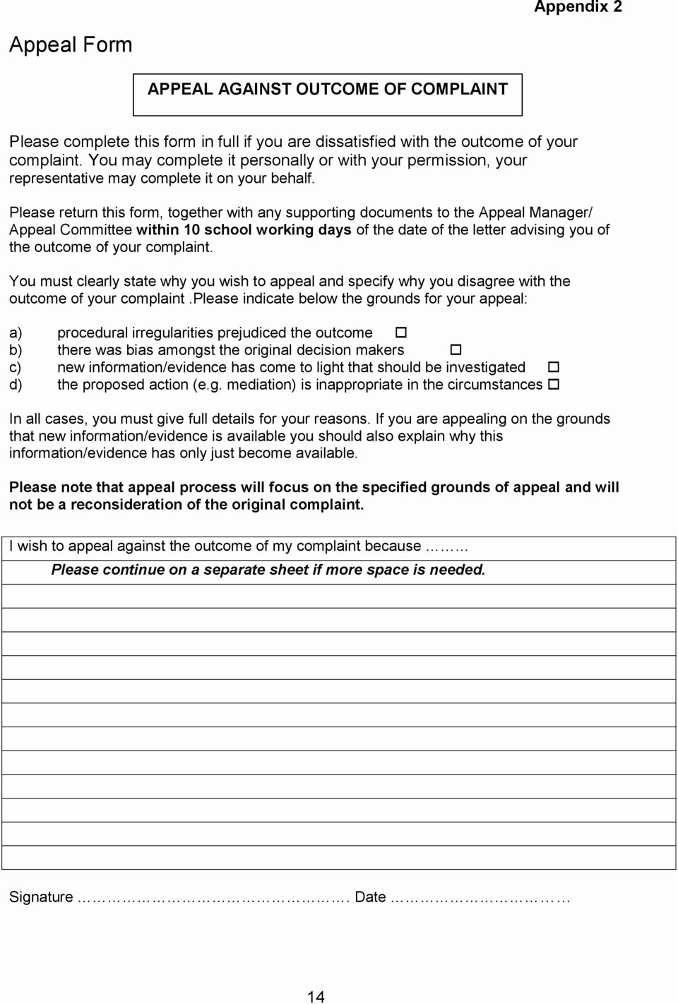 Grievance Appeal Letter Inspirational Grievance Bullying and Harassment Policy and Procedure Pdf