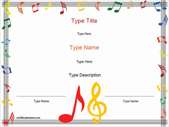Guitar Lesson Gift Certificate Template Awesome 8 Printable Music Certificate Templates Word Psd Ai