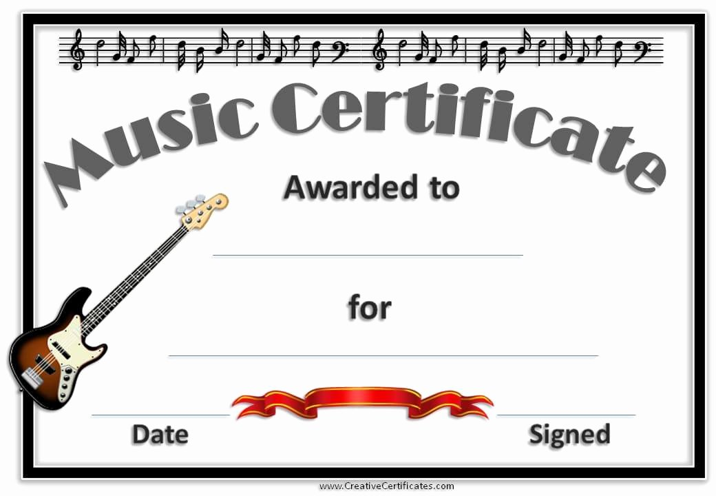 Guitar Lesson Gift Certificate Template Best Of Free Editable Music Certificate Template Free and