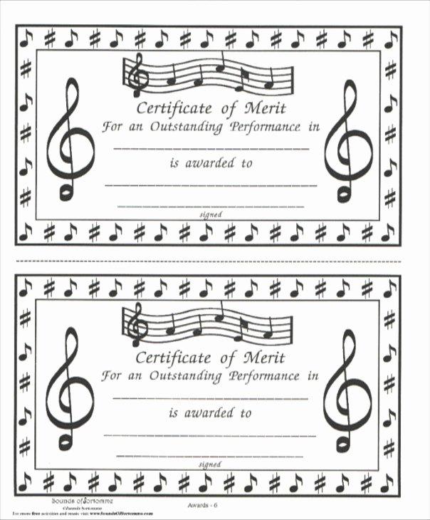 Guitar Lesson Gift Certificate Template Elegant Music Award Certificate Pertamini