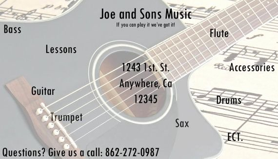 Guitar Lesson Gift Certificate Template Unique 1000 Images About Business Cards On Pinterest