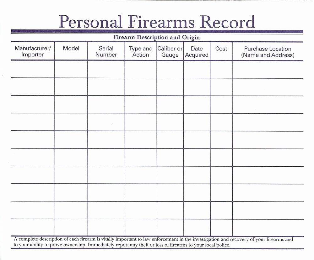 Gun Inventory Template Awesome Firearms Inventory Spreadsheet