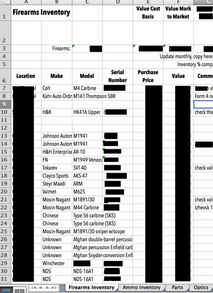 Gun Inventory Template Fresh Gun Inventory Spreadsheet