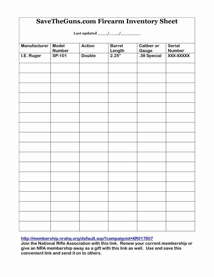 Gun Inventory Template Fresh Printable Gun Inventory form