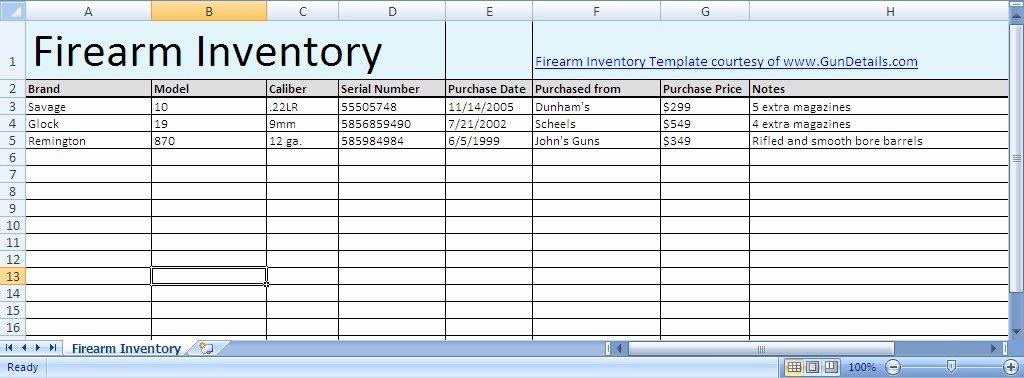 Gun Inventory Template Unique Free Gun Inventory Spreadsheet Gun Details