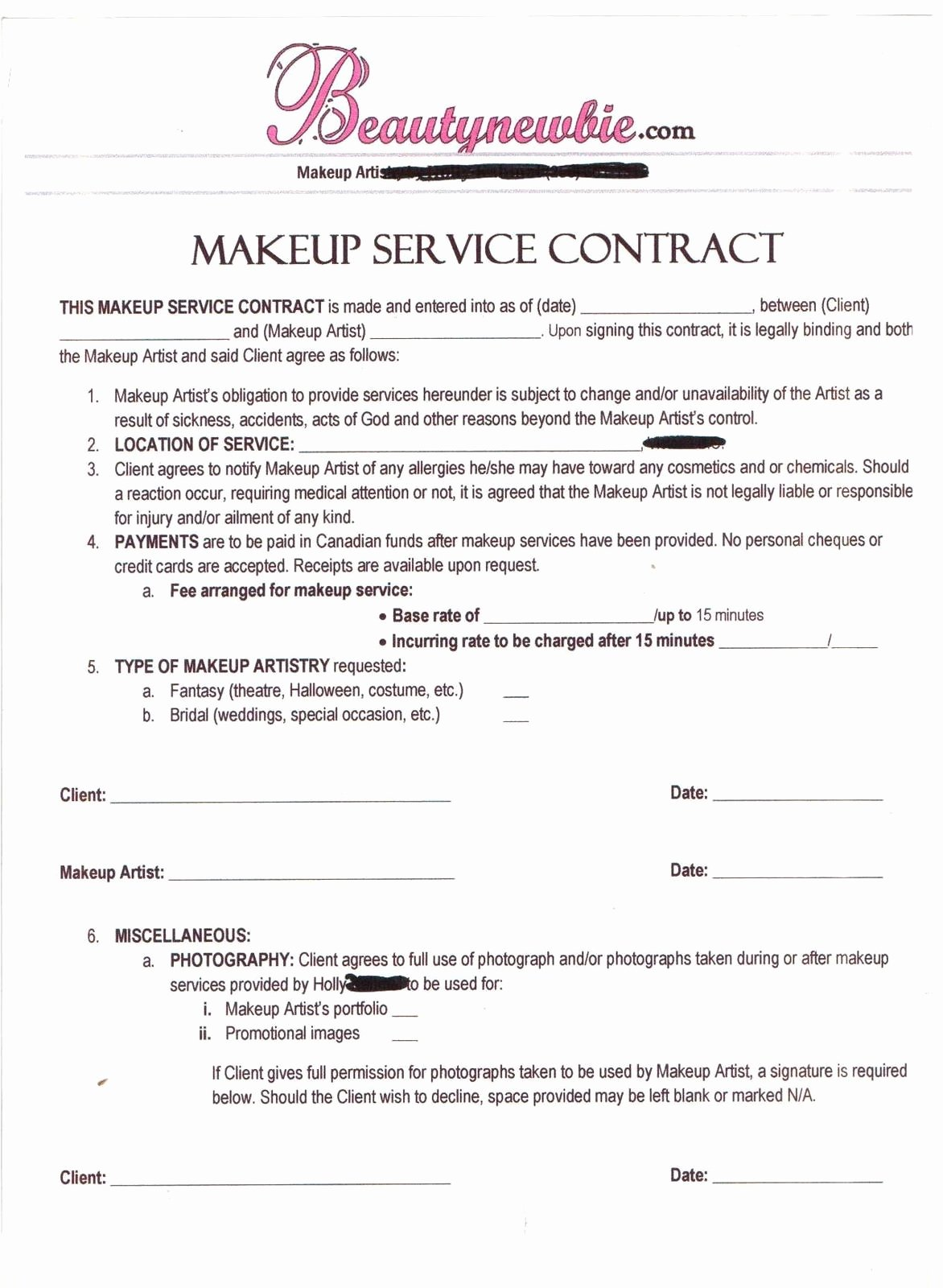 Hair Stylist Contract for Wedding Awesome Contract Makeup Artist