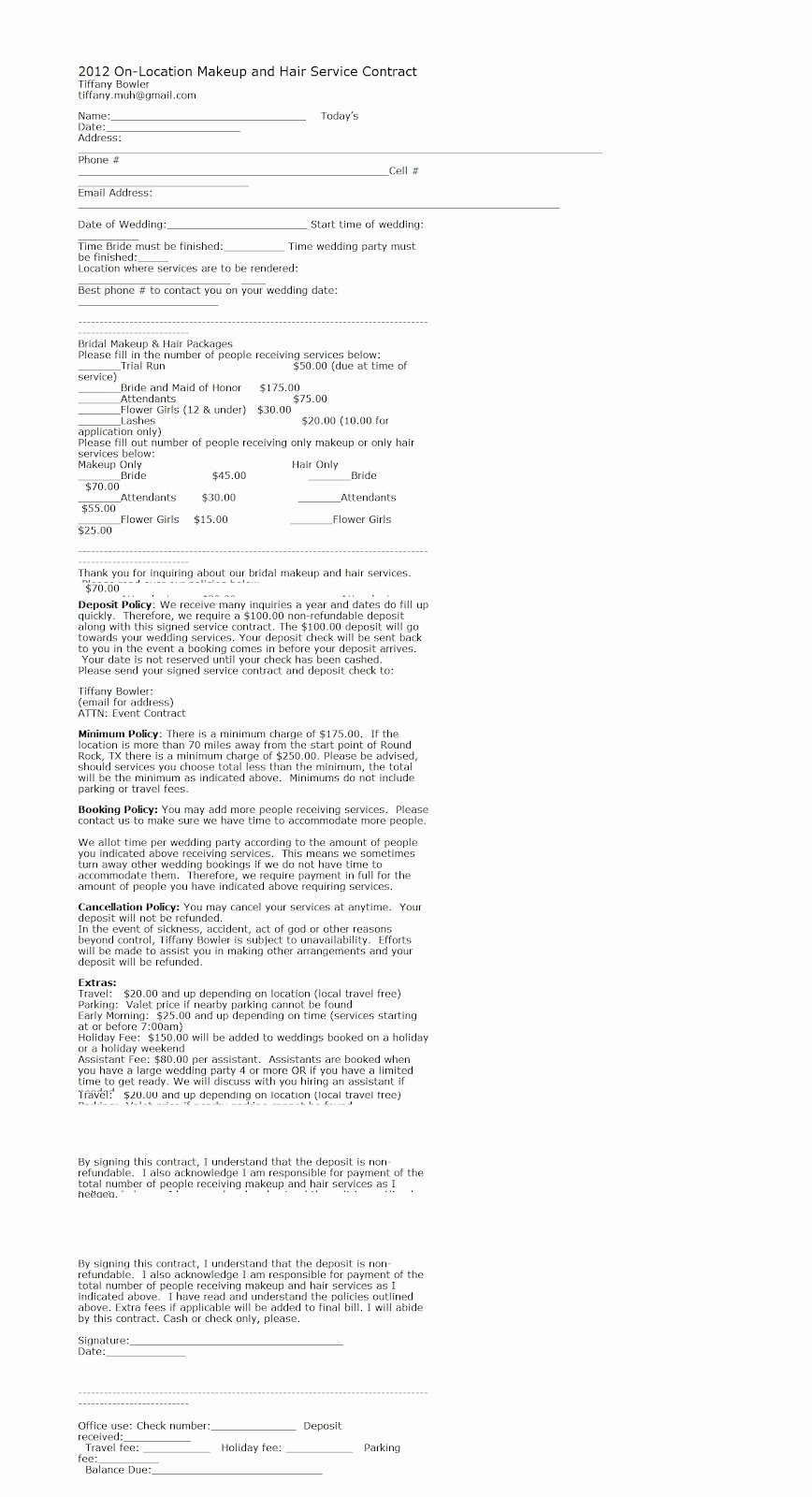 Hair Stylist Contract for Wedding Awesome Download Makeup Bridal Contract Image Frompo