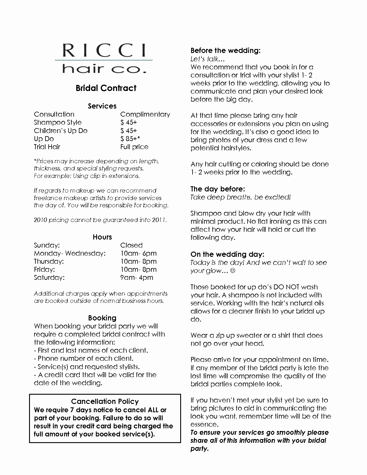 Hair Stylist Contract for Wedding Inspirational Bridalhaircotract