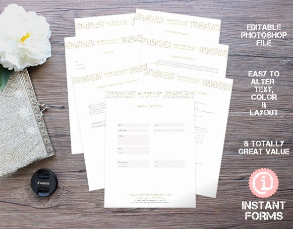 Hair Stylist Contract for Wedding Lovely Hair Stylist forms and Contracts if207 Instant Download