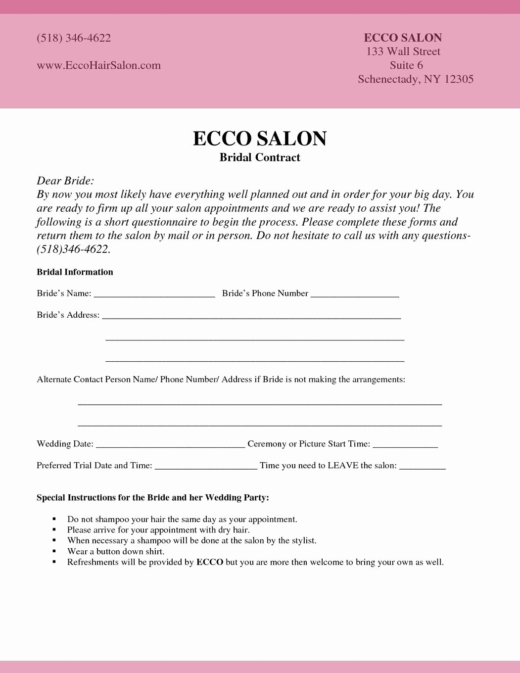 Hair Stylist Contract for Wedding Luxury Bridal Makeup Questionnaire