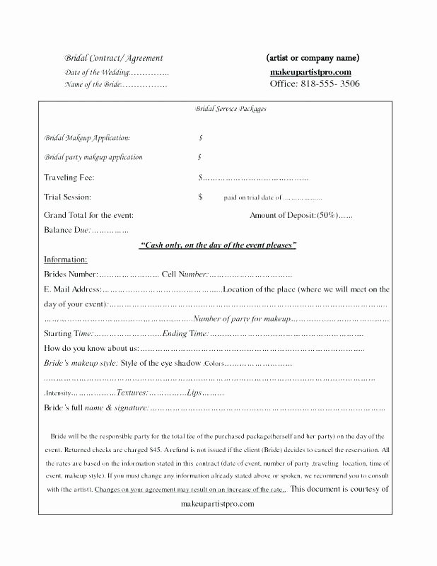 Hair Stylist Contract for Wedding Luxury Sample Bridal Hair and Makeup Contract