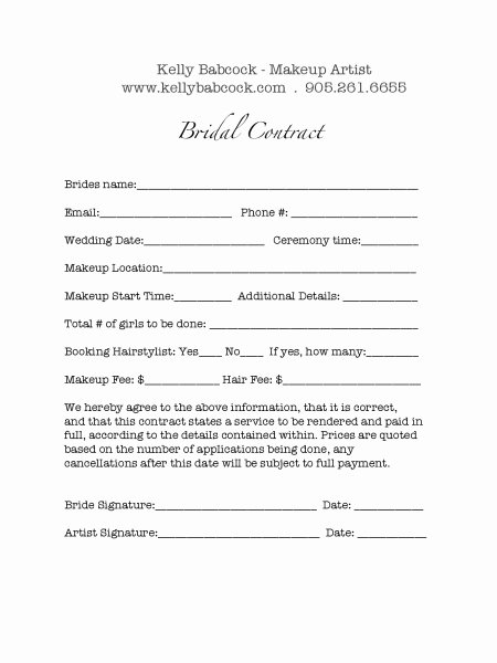Hair Stylist Contract for Wedding Luxury Wedding Hair and Makeup Contract Template Mugeek Vidalondon
