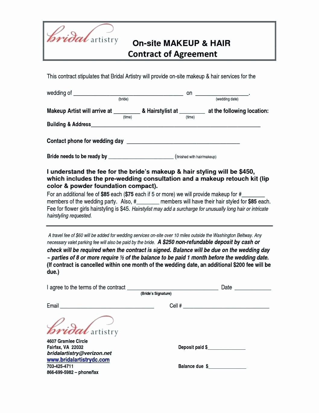 Hair Stylist Contract for Wedding New Wedding Contracts for Hair and Makeup Style Guru