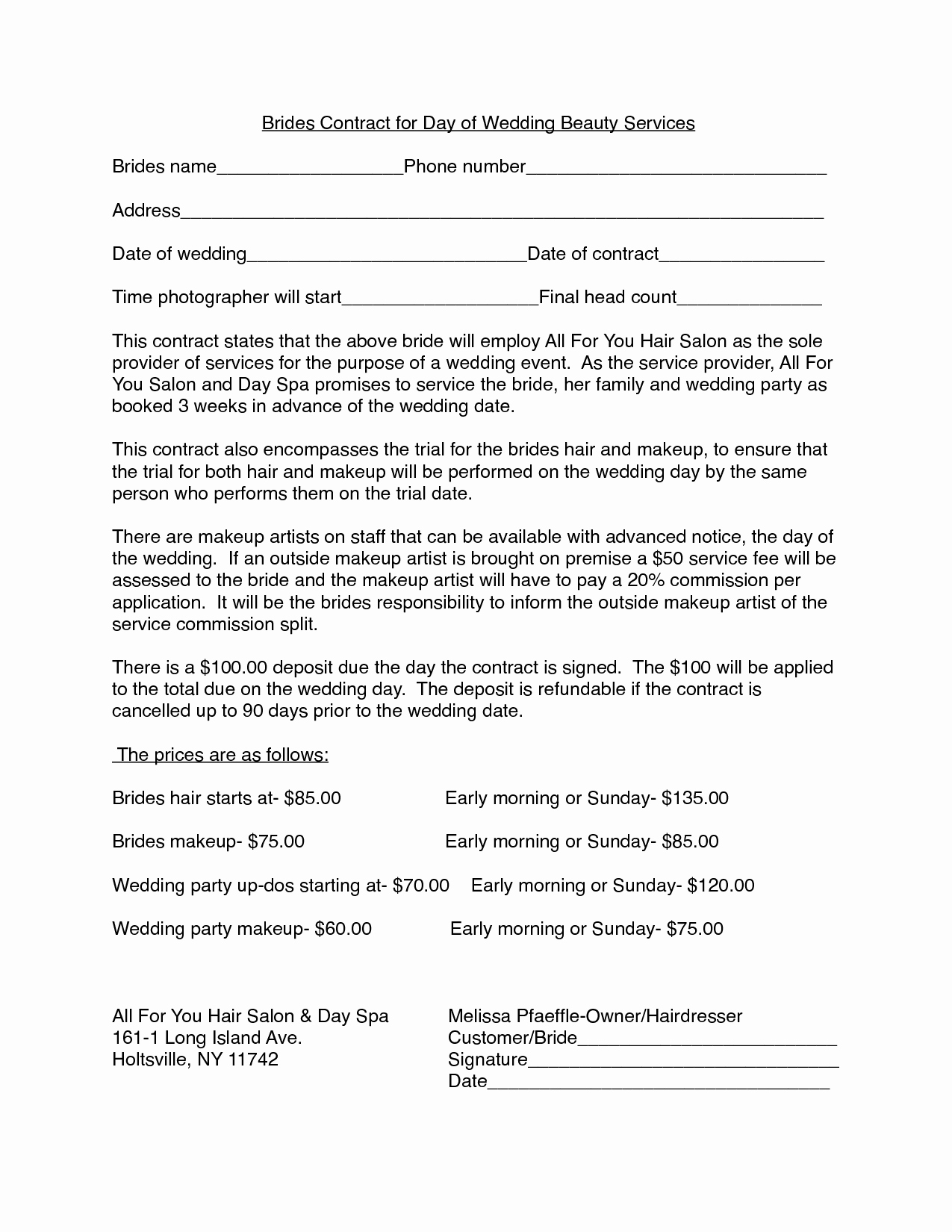 Hair Stylist Contract for Wedding Unique Hair Stylist Independent Contractor Agreement