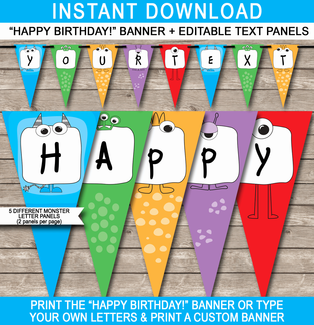 Happy Birthday Sign Template Inspirational Monster Party Banner Template Birthday Banner
