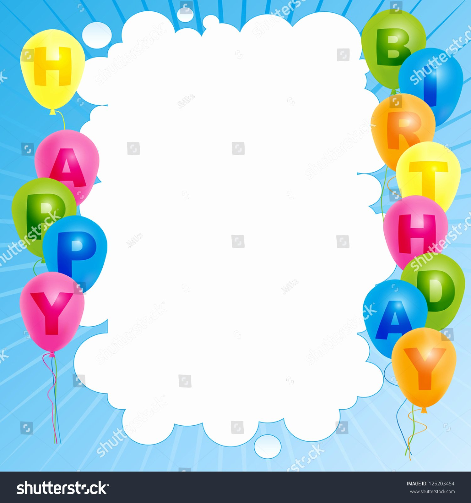 Happy Birthday Sign Template New Happy Birthday Card Template Color Balloons Stock