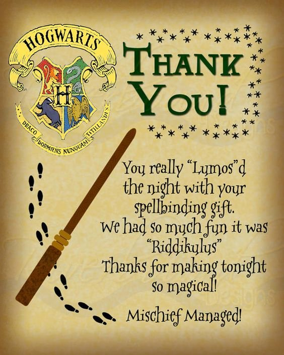 Harry Potter Google Slides theme Inspirational Printable Thank You Card Harry Potter Inspired with