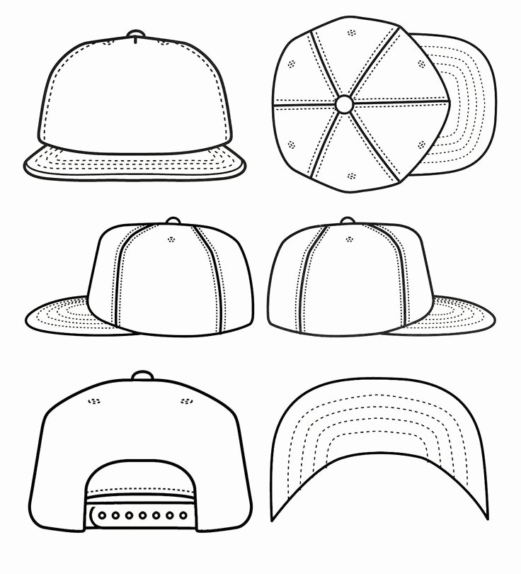 Hat Template Vector Awesome Best S Of Blank Snapback Stencil Snapback Hat