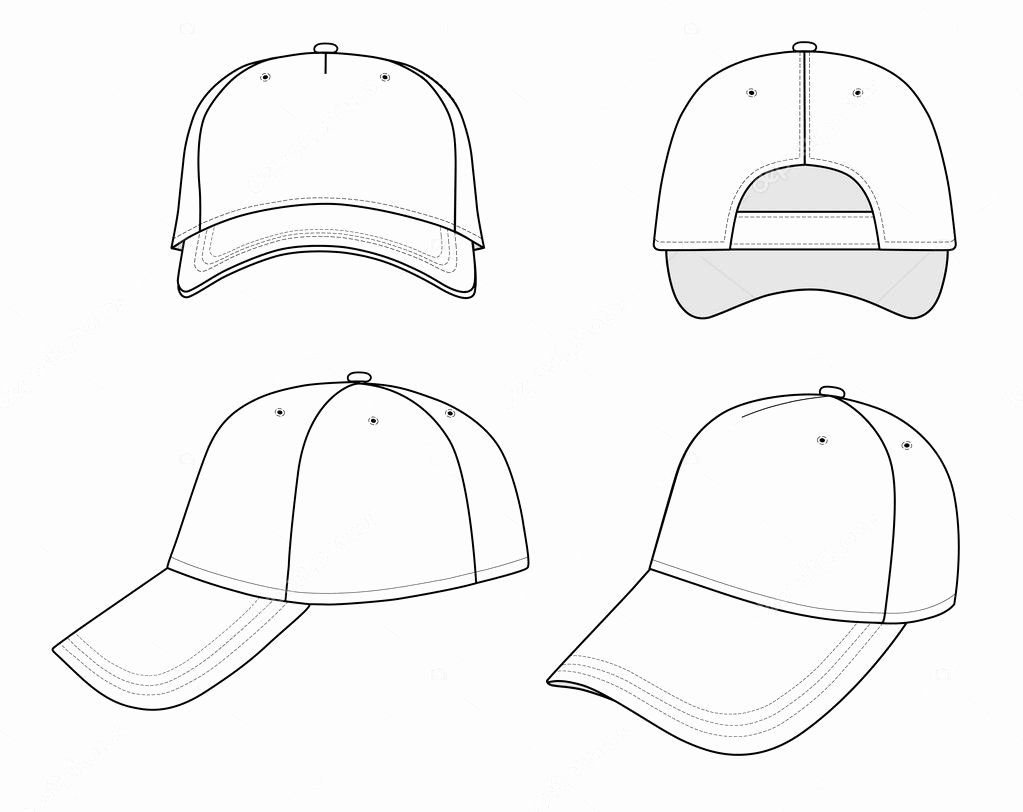 Hat Template Vector Awesome Outline Cap Vector Illustration — Stock Vector © Arlatis