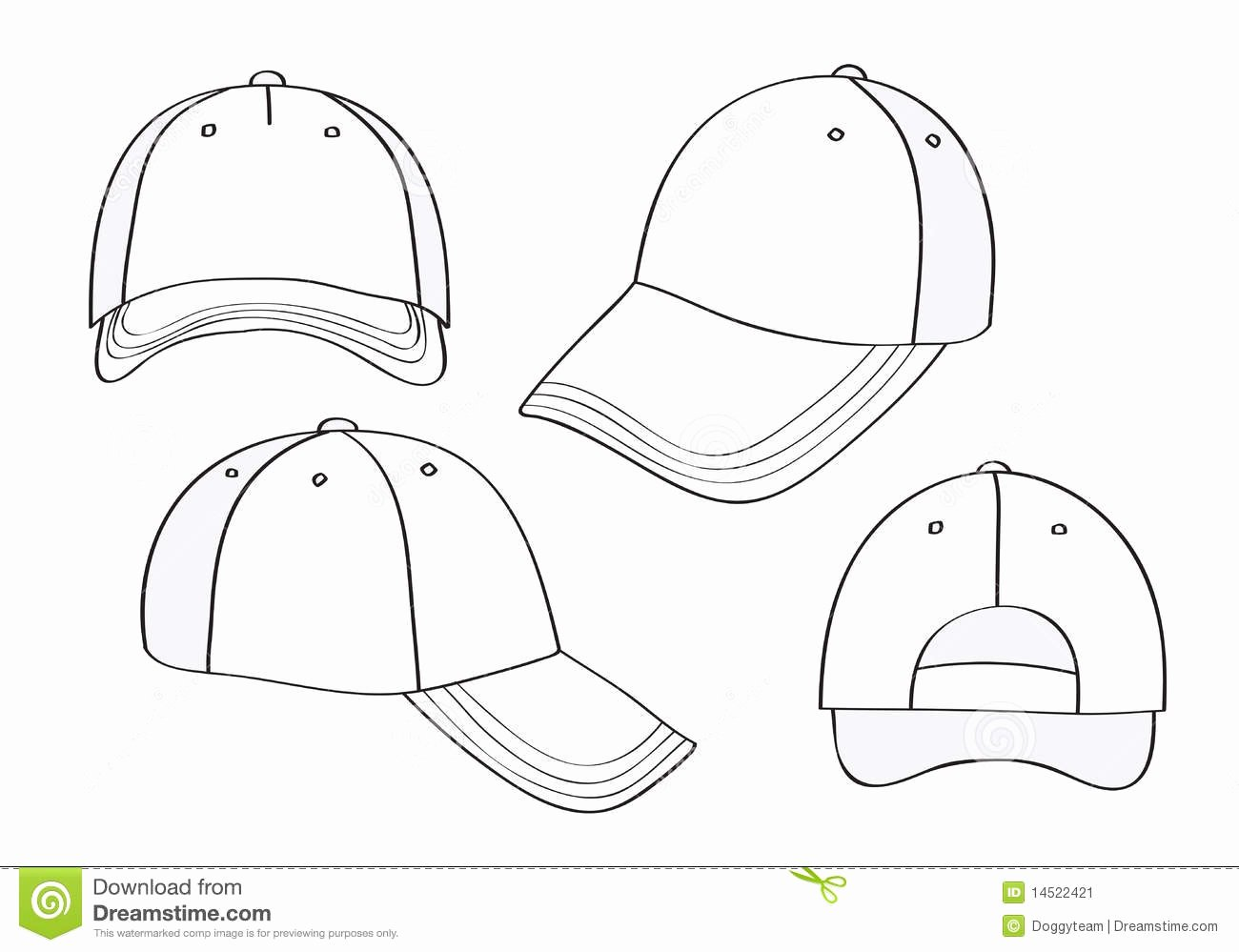 Hat Template Vector Lovely Blank Cap Stock Vector Illustration Of Objects