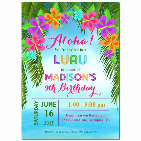 Hawaiian themed Invitation Templates Free Awesome Luau Invitation Printable or Printed with Free Shipping