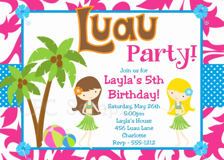 Hawaiian themed Invitation Templates Free Beautiful 20 Luau Birthday Invitations Designs