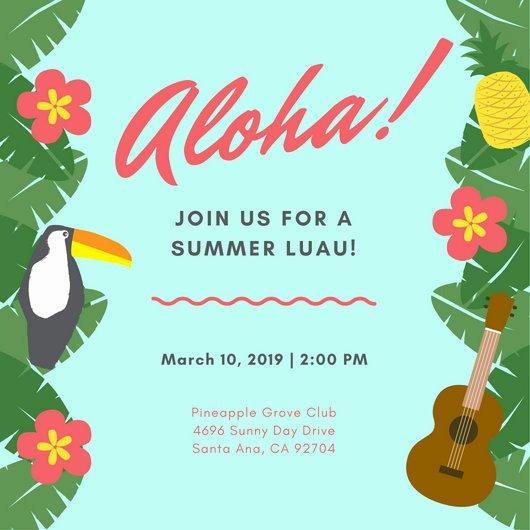 Hawaiian themed Invitation Templates Free Beautiful Customize 102 Luau Invitation Templates Online Canva