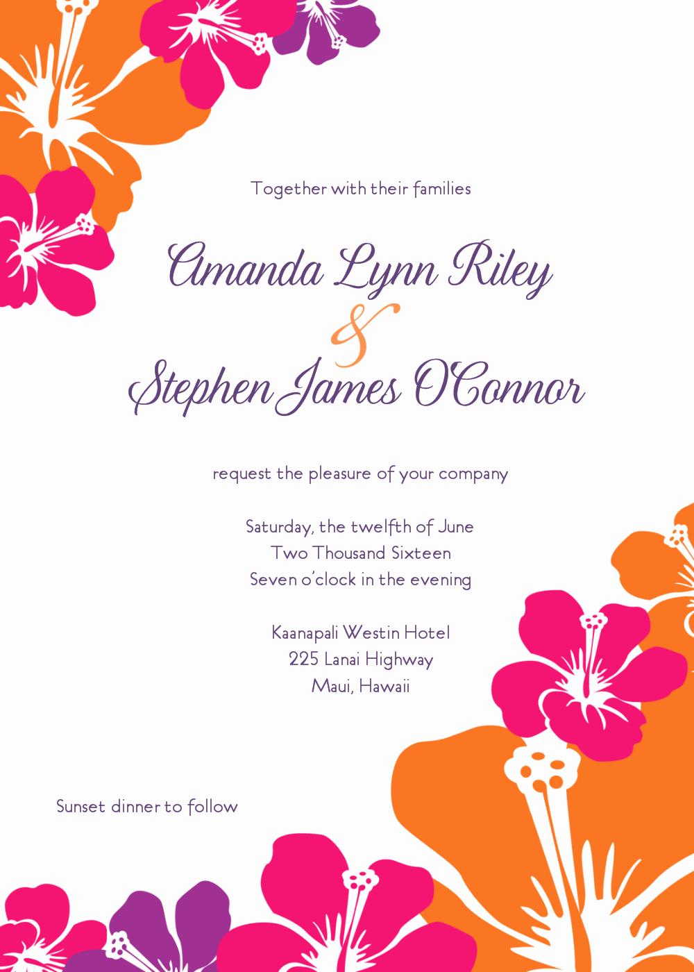 Hawaiian themed Invitation Templates Free Beautiful Free Wedding Invitation Clip Art Weddingclipart