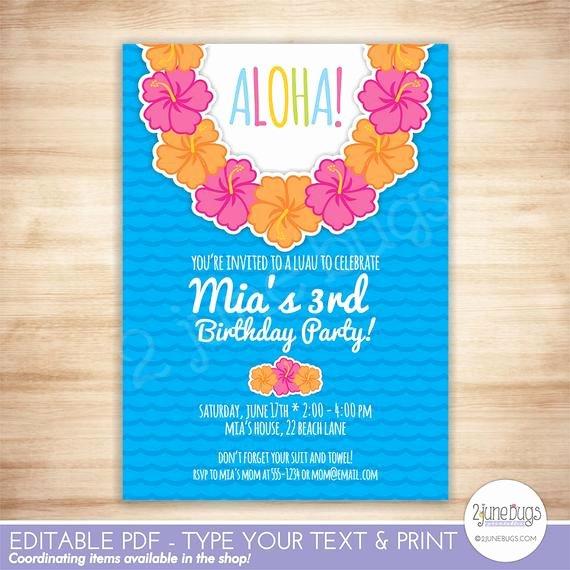 Hawaiian themed Invitation Templates Free Beautiful Luau Party Invitation Luau Birthday Party Invitation
