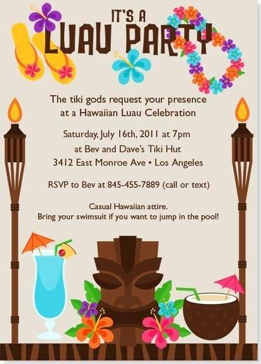 Hawaiian themed Invitation Templates Free Best Of Tiki Luau Birthday Party Invitation Wording