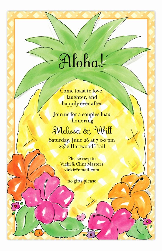 Hawaiian themed Invitation Templates Free Elegant Aloha Pineapple Luau Invitations
