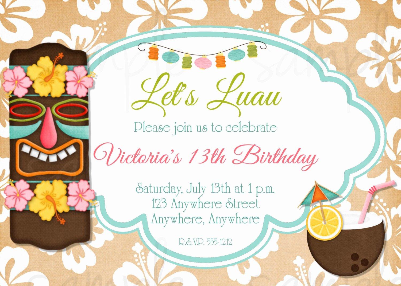 Hawaiian themed Invitation Templates Free Elegant Hawaiian Luau Birthday Invitation