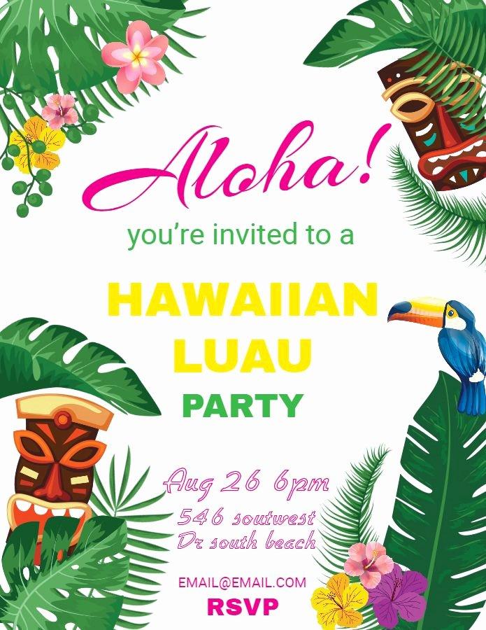 Hawaiian themed Invitation Templates Free Fresh Hawaiian Party Invitations Luau Flyer Template Design