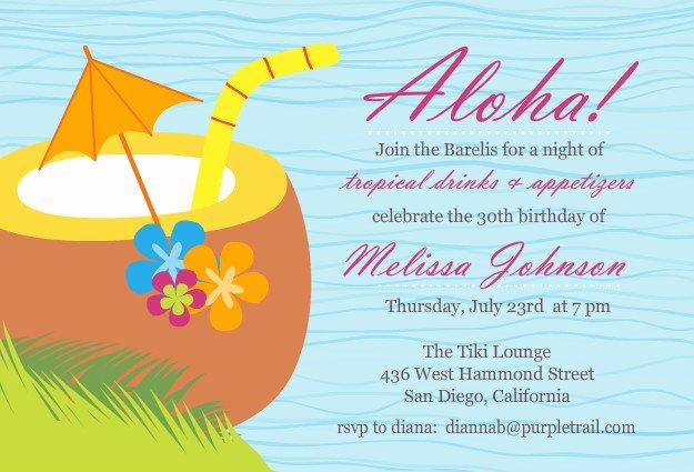 Hawaiian themed Invitation Templates Free Fresh Luau Birthday Party Invitation Wording – Bagvania Free