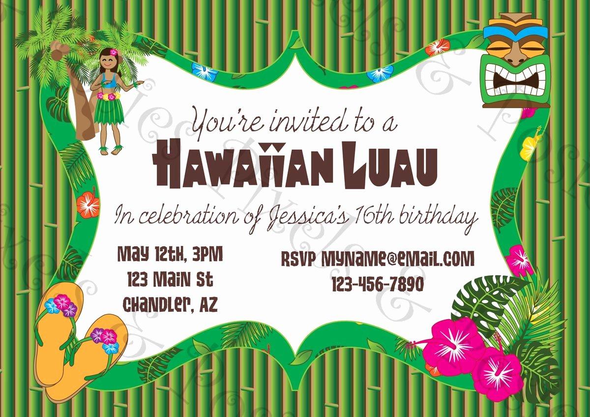 Hawaiian themed Invitation Templates Free Lovely Custom Printable Party Invitation Print Your Own Invite