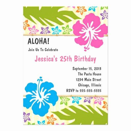 """Hawaiian themed Invitation Templates Free Luxury Hawaiian Luau Party Invitation 5"""" X 7"""" Invitation Card"""