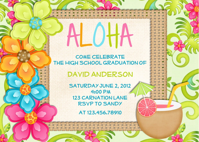 Hawaiian themed Invitation Templates Free New 20 Luau Birthday Invitations Designs