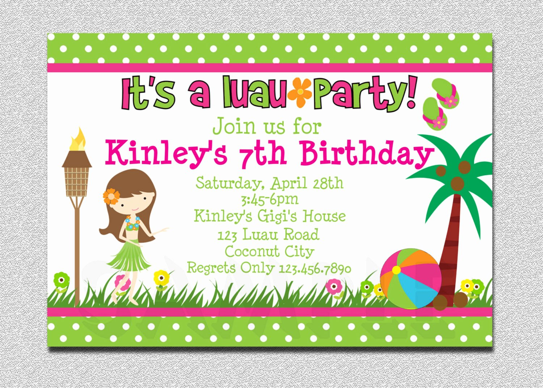Hawaiian themed Invitation Templates Free New Luau Birthday Invitation Luau Birthday Party Invitation